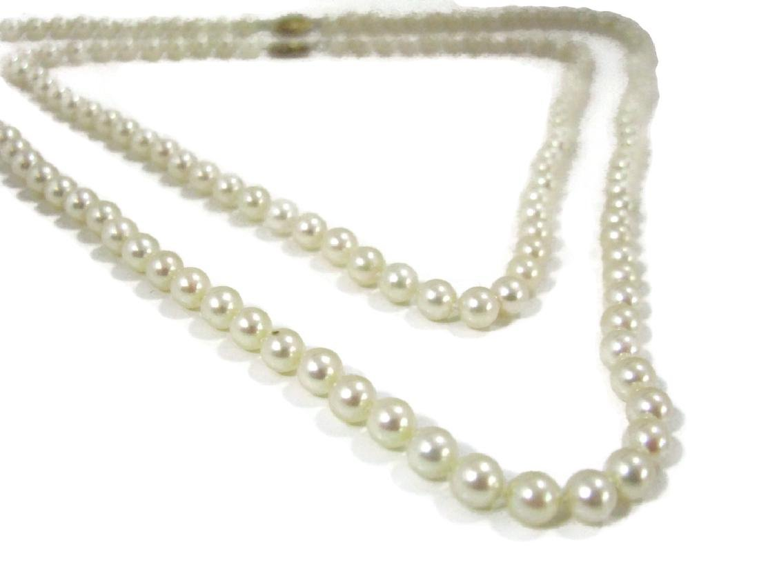 MATCHED PAIR KNOTTED PEARL NECKLACES 14K GOLD