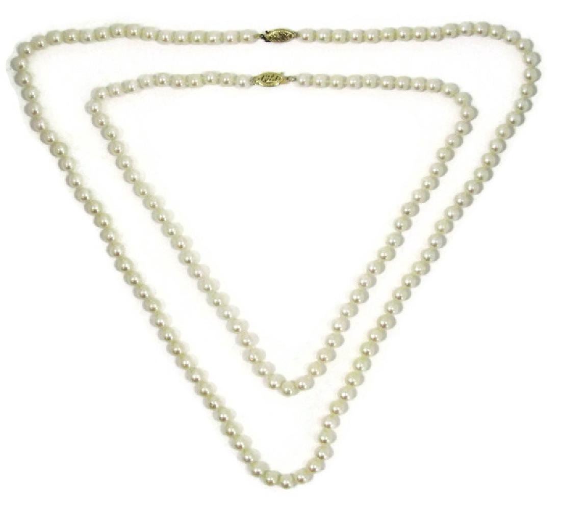 MATCHED PAIR KNOTTED PEARL NECKLACES 14K GOLD - 2
