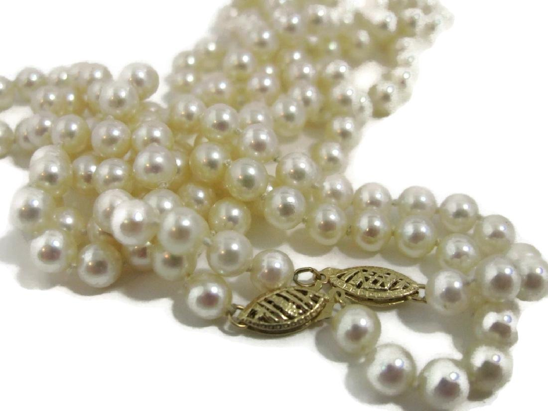 MATCHED PAIR KNOTTED PEARL NECKLACES 14K GOLD - 4