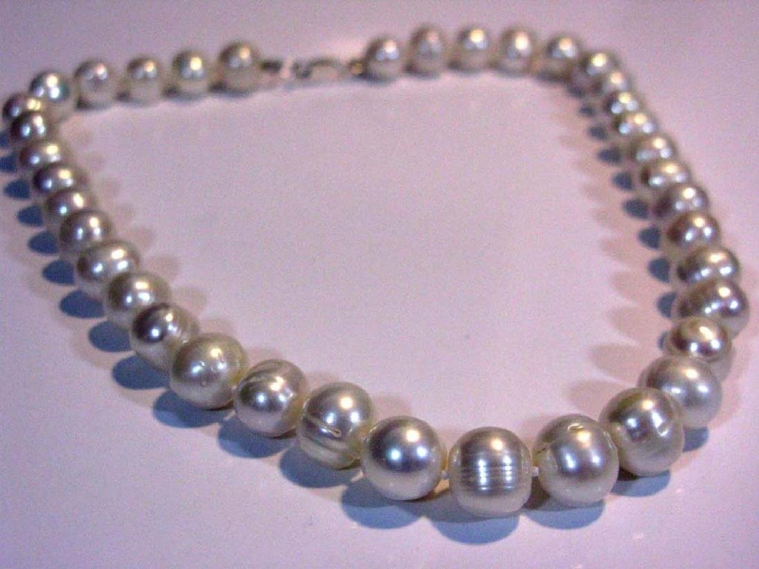 2 @ BAROQUE PEARL KNOTTED NECKLACES 925 CLASPS - 10