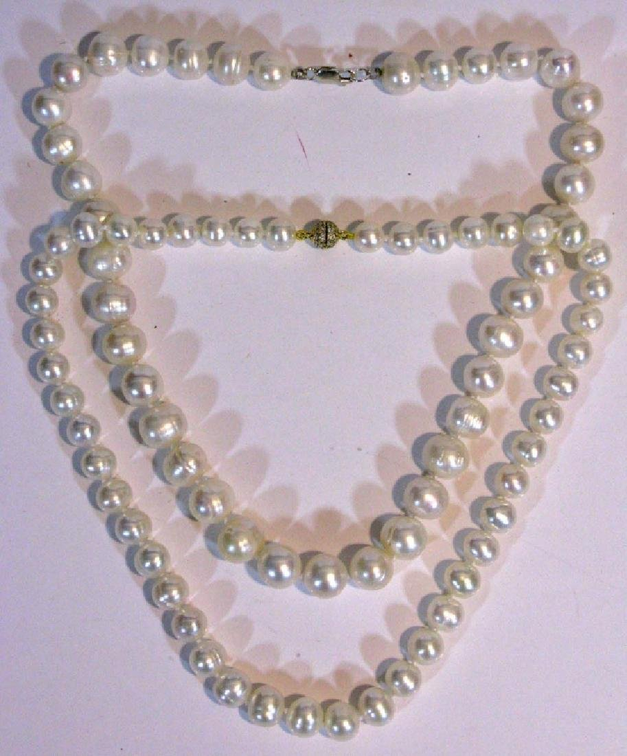 2 @ BAROQUE PEARL KNOTTED NECKLACES 925 CLASPS