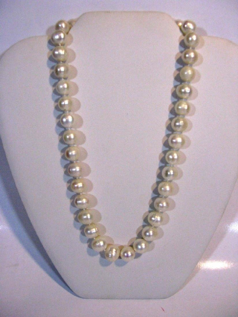 2 @ BAROQUE PEARL KNOTTED NECKLACES 925 CLASPS - 2