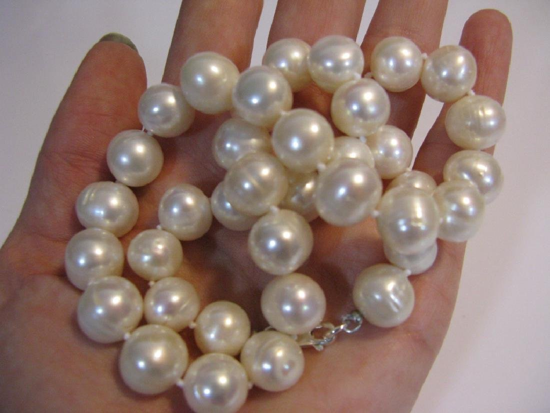 2 @ BAROQUE PEARL KNOTTED NECKLACES 925 CLASPS - 3