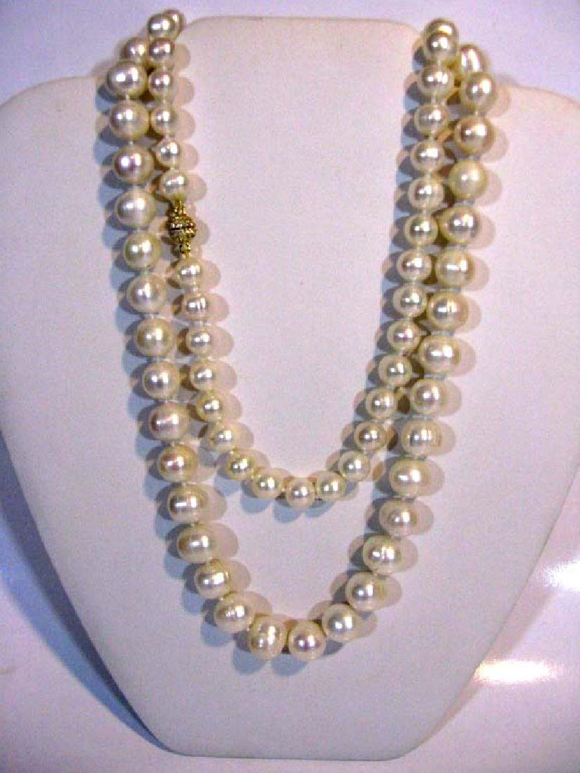 2 @ BAROQUE PEARL KNOTTED NECKLACES 925 CLASPS - 4