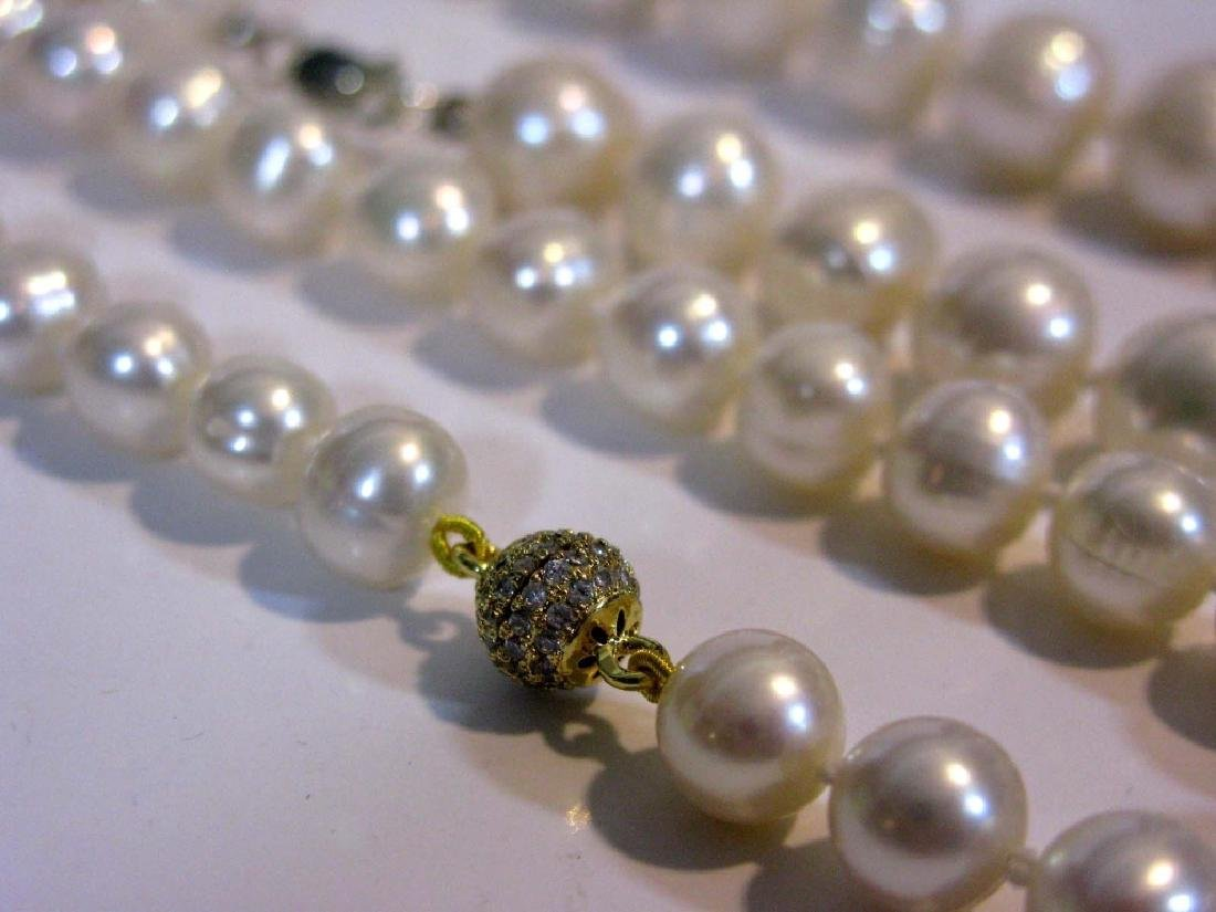 2 @ BAROQUE PEARL KNOTTED NECKLACES 925 CLASPS - 5