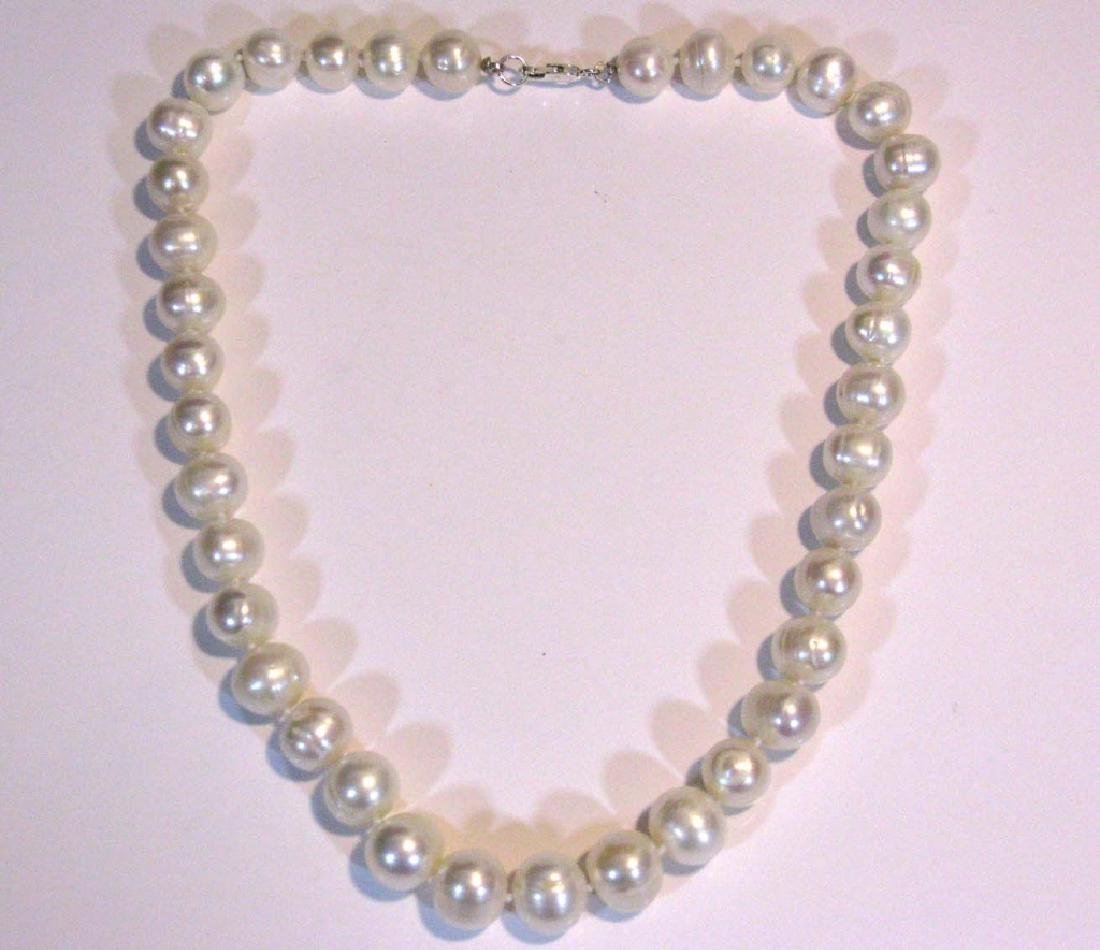2 @ BAROQUE PEARL KNOTTED NECKLACES 925 CLASPS - 8