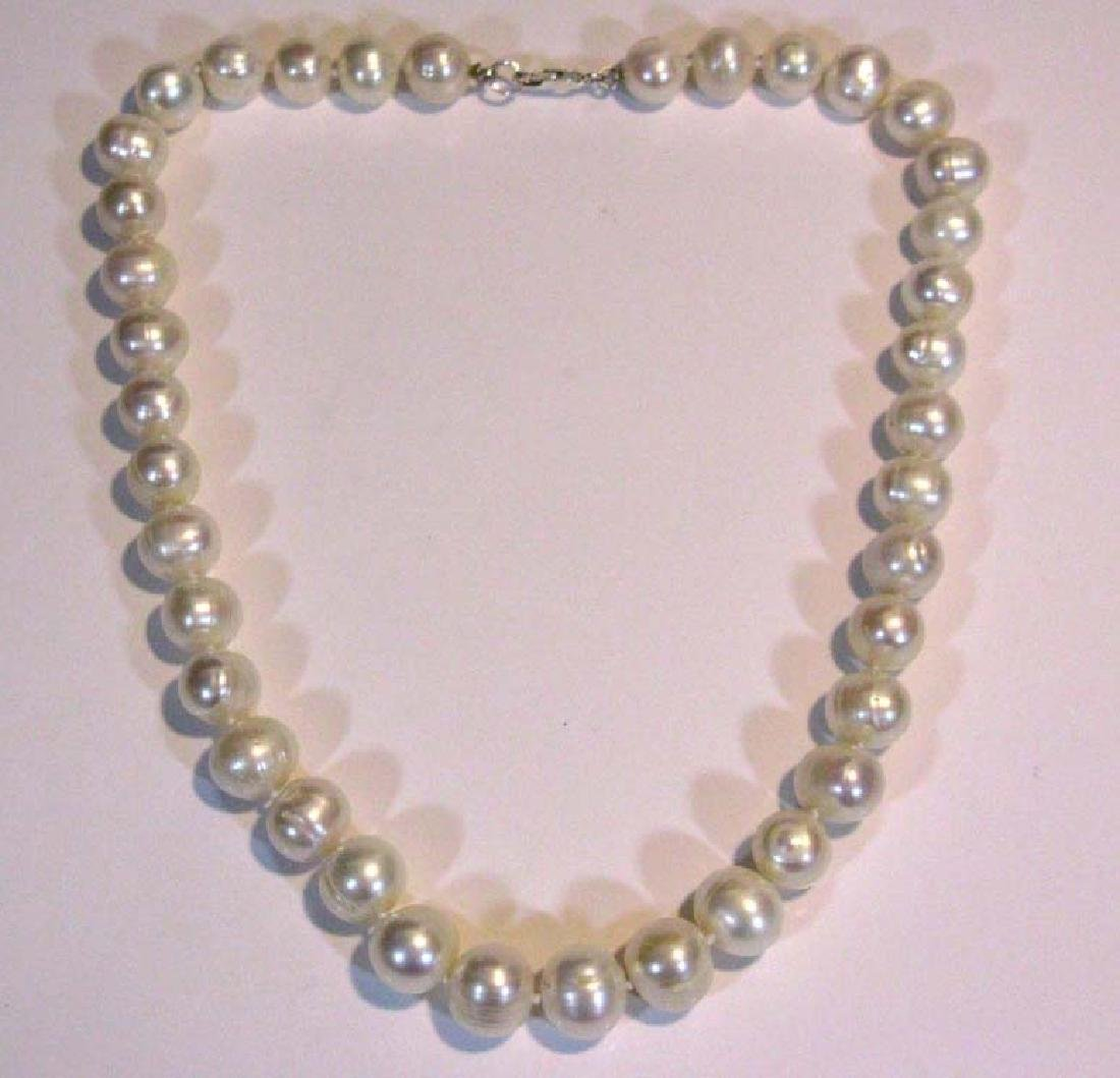 2 @ BAROQUE PEARL KNOTTED NECKLACES 925 CLASPS - 9