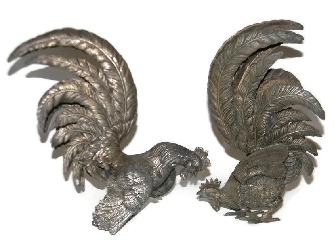 PAIR VINTAGE SILVERED METAL GAMECOCK CENTERPIECES