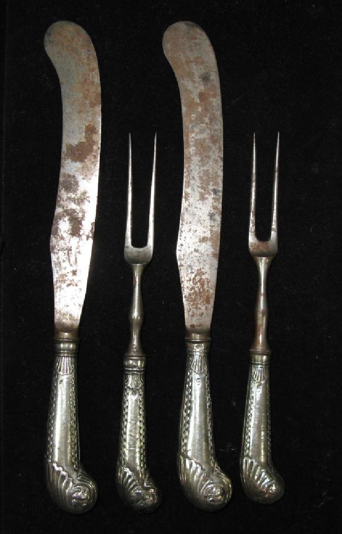 PAIR OF C. 1760 FORKS & KNIVES BY THOMAS JUSTIS