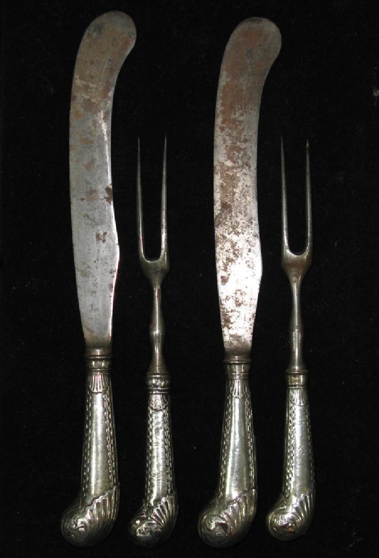 PAIR OF C. 1760 FORKS & KNIVES BY THOMAS JUSTIS - 4