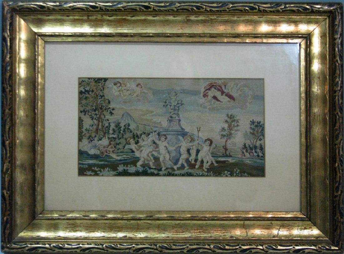19TH C PETIT POINT DANCE OF CUPIDS AFTER ALBANI - 3