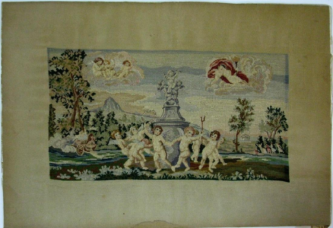 19TH C PETIT POINT DANCE OF CUPIDS AFTER ALBANI - 5