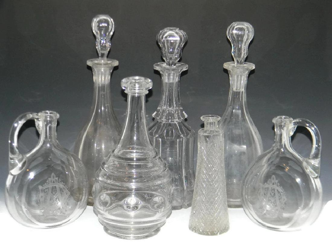 7 @ 18TH - 19TH C CUT GLASS DECANTERS & STOPPERS