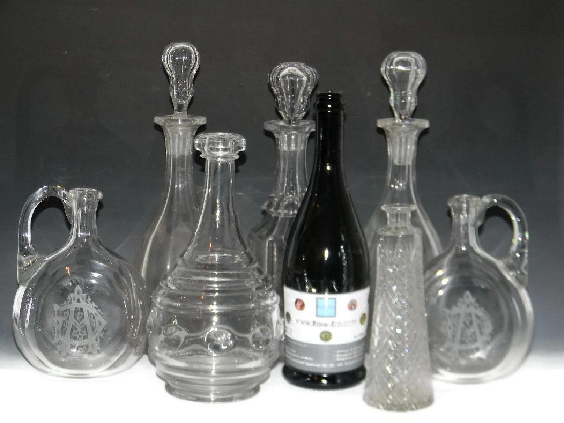 7 @ 18TH - 19TH C CUT GLASS DECANTERS & STOPPERS - 2