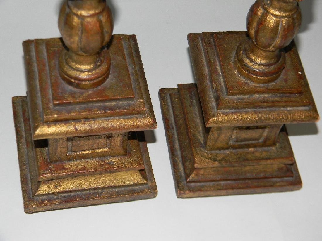 "PAIR CARVED AND GILDED WOOD CANDLESTICKS 18.5""H - 4"
