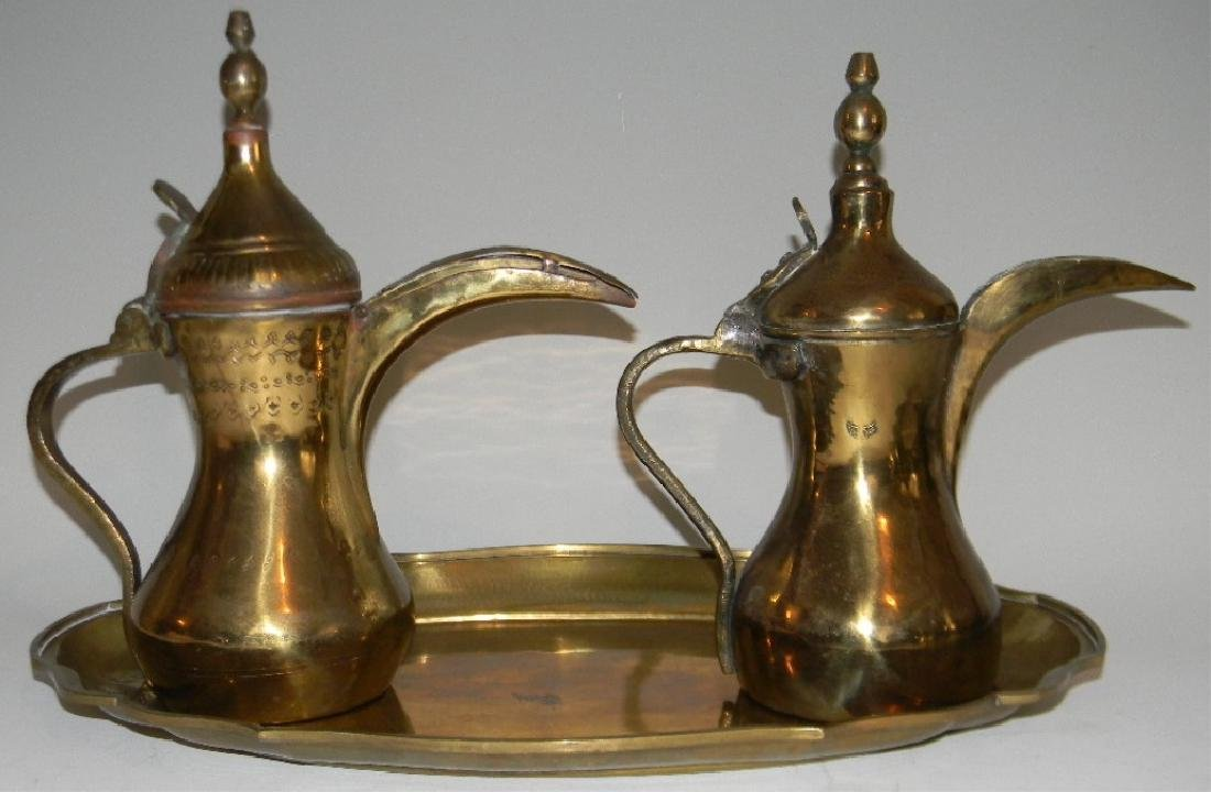 VINTAGE BRASS DALLAH GRADUATED COFFEE SET & TRAY - 2