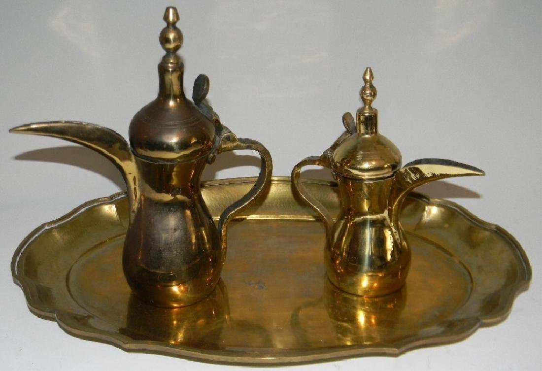 VINTAGE BRASS DALLAH GRADUATED COFFEE SET & TRAY - 6