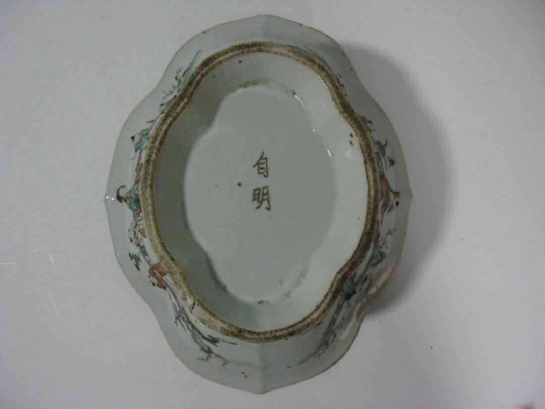CHINESE EXPORT CERAMIC LOBED PEDESTAL BOWL - 10