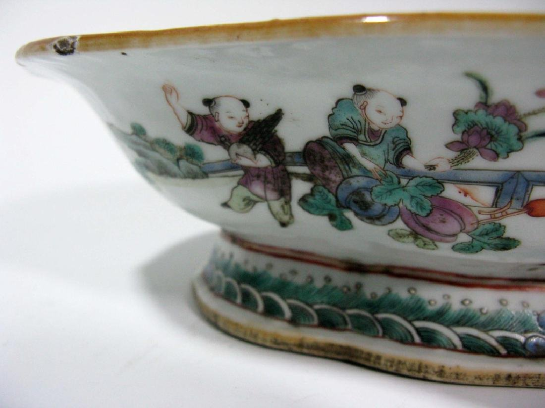 CHINESE EXPORT CERAMIC LOBED PEDESTAL BOWL - 7