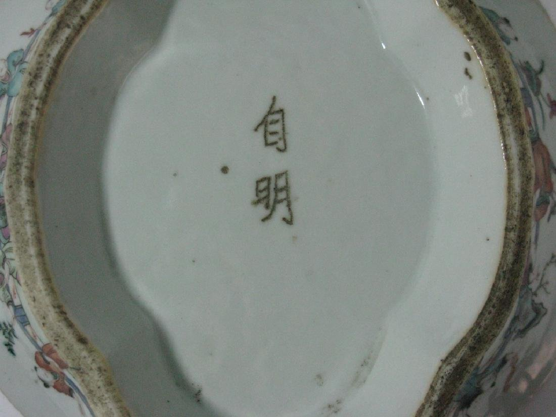 CHINESE EXPORT CERAMIC LOBED PEDESTAL BOWL - 9