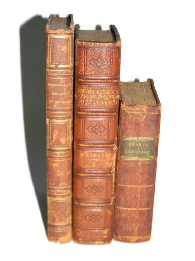 3 EARLY 19TH C FINE ART & LANGUAGE DICTIONARIES
