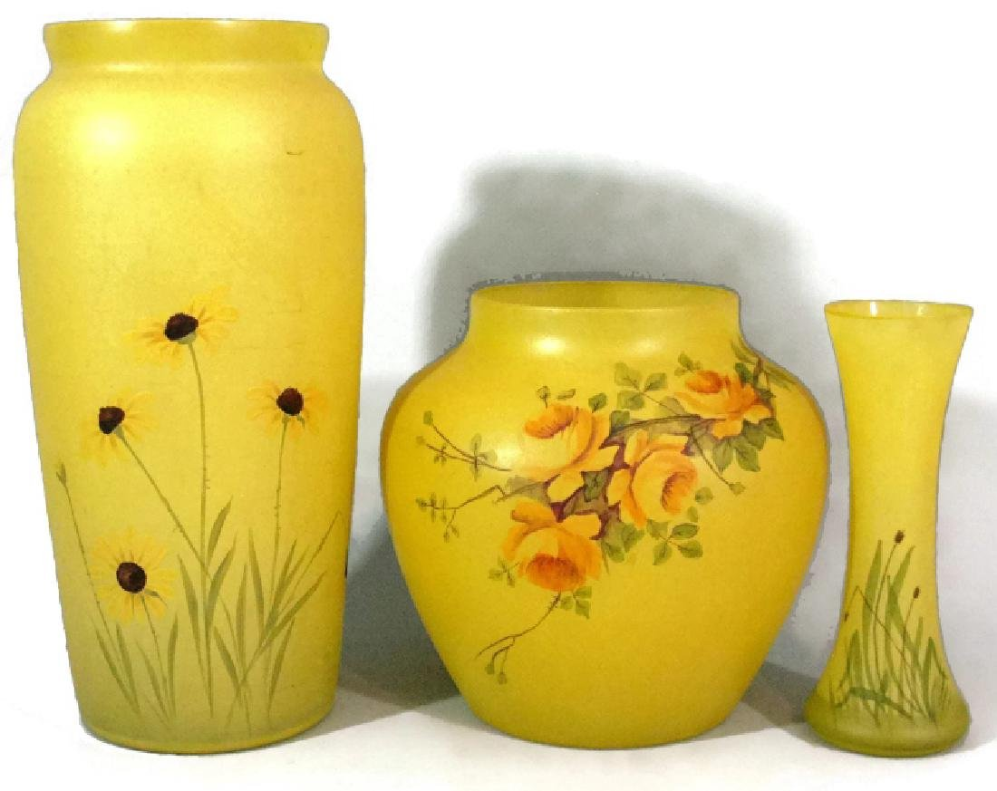3 @ HAWKES HAND PAINTED ART GLASS FLOWER VASES
