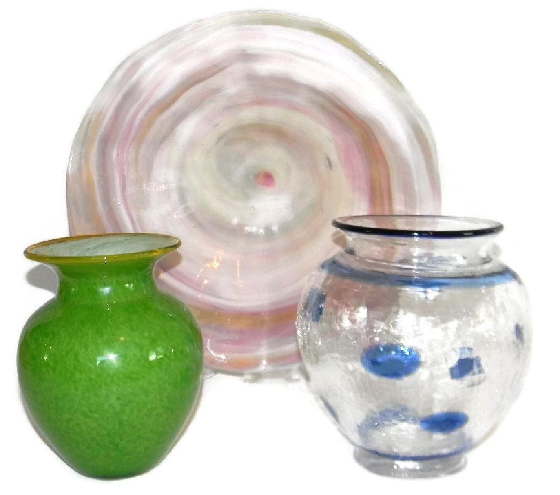 3 LISA ARONZON ART GLASS VASES & CENTERPIECE BOWL