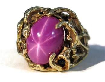 OUTRAGEOUS 14K FREEFORM RING WITH STAR RUBY