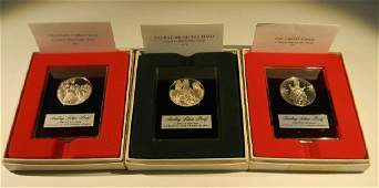 3 STERLING SILVER HOLIDAY PROOF MEDALS / COINS