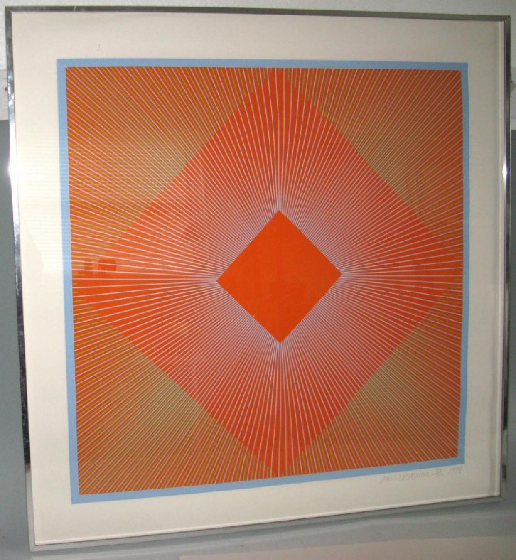 RICHARD ANUSZKIEWICZ OP ART SIGNED SILKSCREEN 1978 - 2