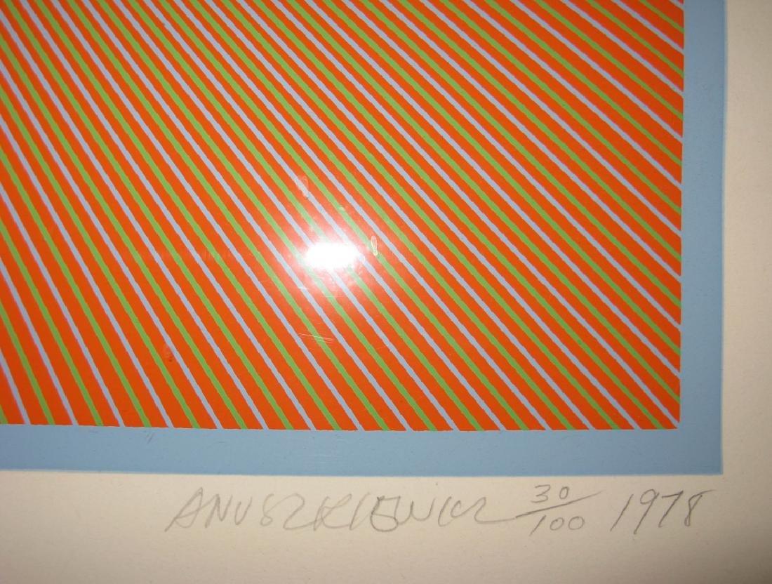 RICHARD ANUSZKIEWICZ OP ART SIGNED SILKSCREEN 1978 - 7