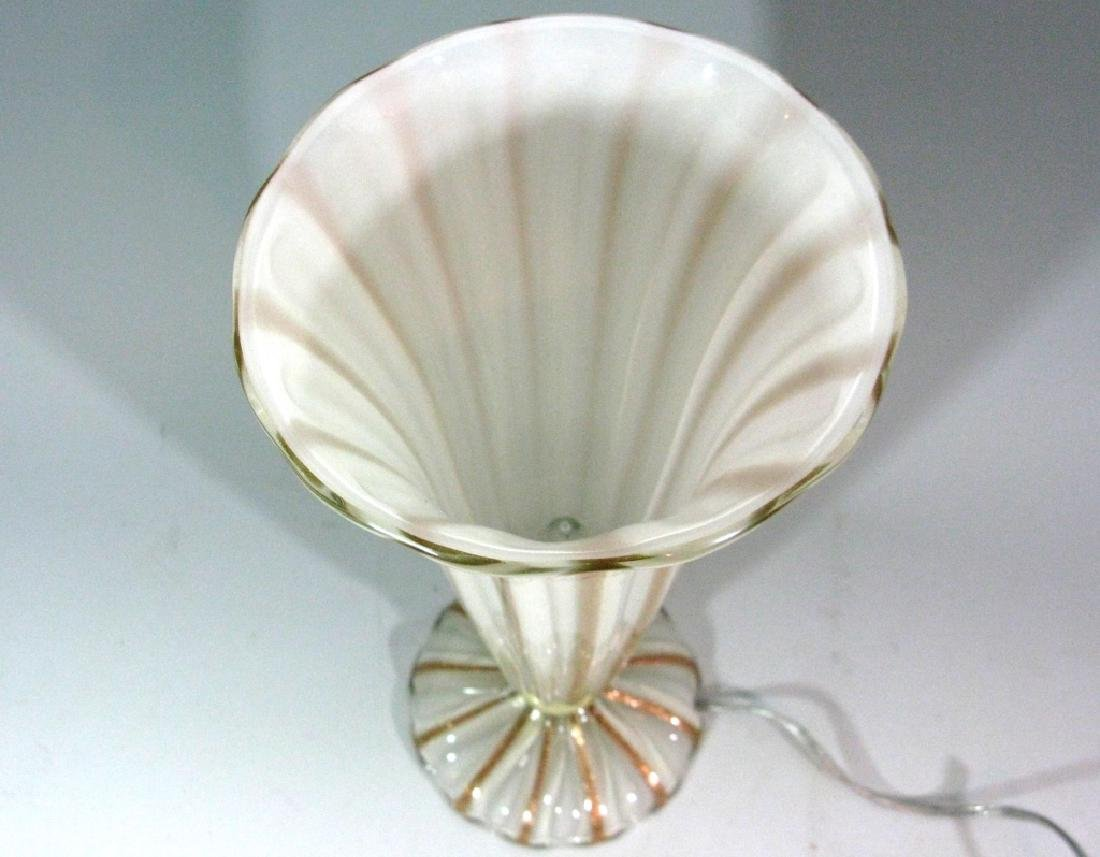 "BAROVIER MURANO GLASS TRUMPET MOUTH LAMP 16.5""h - 6"