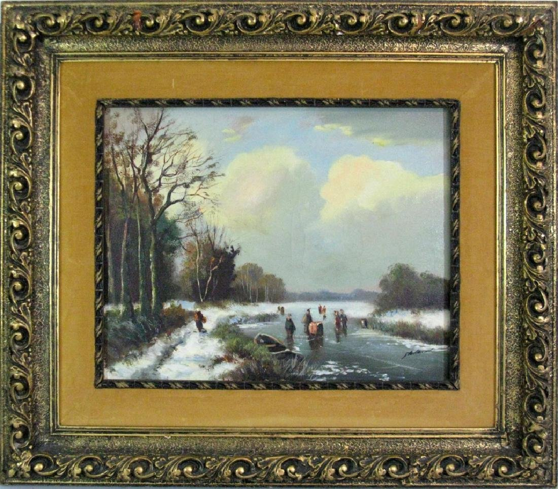 STELLEMAN OIL ON CANVAS DUTCH LANDSCAPE PAINTING