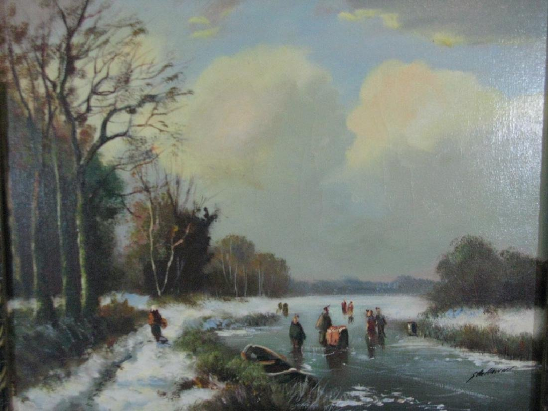 STELLEMAN OIL ON CANVAS DUTCH LANDSCAPE PAINTING - 2