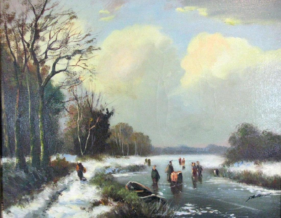 STELLEMAN OIL ON CANVAS DUTCH LANDSCAPE PAINTING - 3