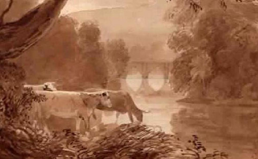 19TH C ENGLISH WATERCOLOR CATTLE IN LANDSCAPE - 2