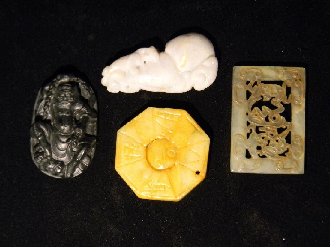 4 CHINESE HARDSTONE CARVED PENDANTS