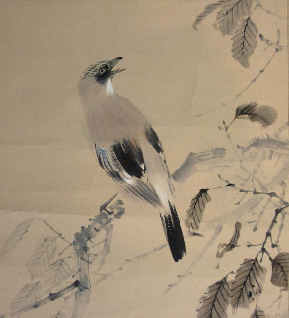 2 CHINESE SIGNED SCROLL PAINTINGS BIRD & LANDSCAPE