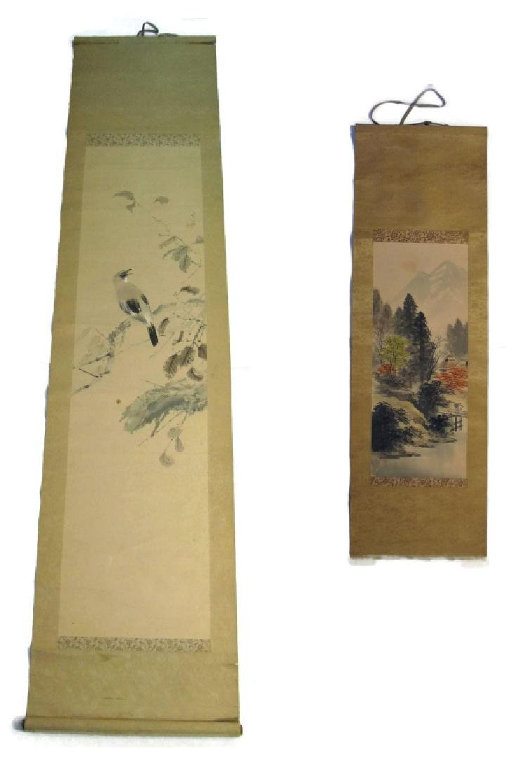 2 CHINESE SIGNED SCROLL PAINTINGS BIRD & LANDSCAPE - 2