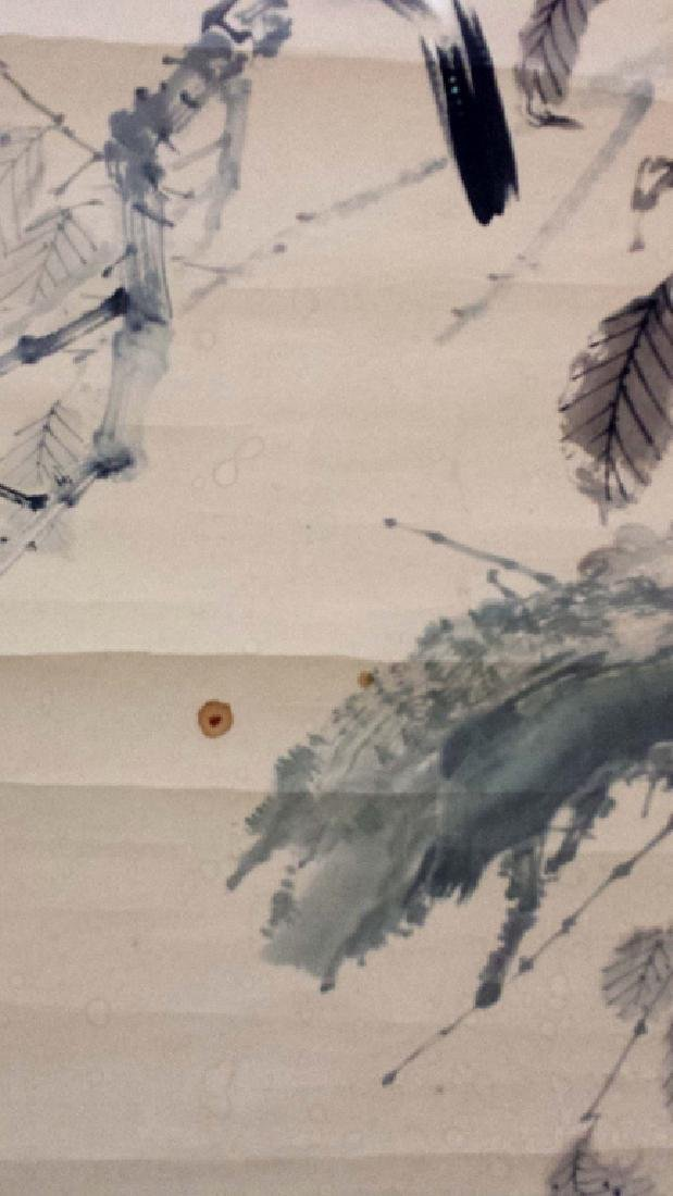 2 CHINESE SIGNED SCROLL PAINTINGS BIRD & LANDSCAPE - 3