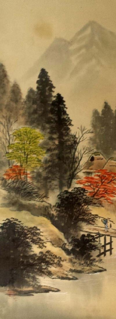 2 CHINESE SIGNED SCROLL PAINTINGS BIRD & LANDSCAPE - 4