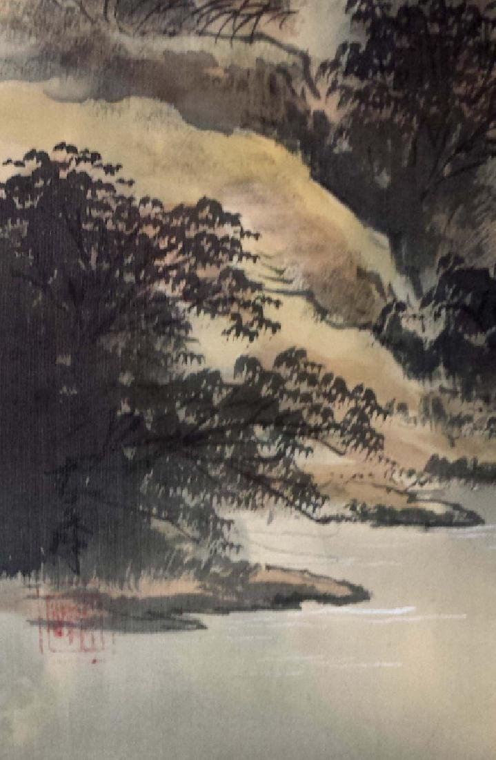 2 CHINESE SIGNED SCROLL PAINTINGS BIRD & LANDSCAPE - 5