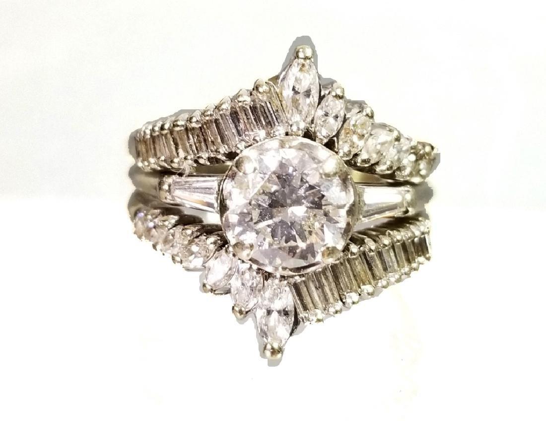 ART DECO 1.36 CARAT DIAMOND SOLITAIRE RING & GUARD