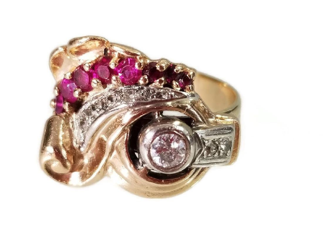 ART DECO RING GOLD PLATINUM DIAMONDS AND RUBIES