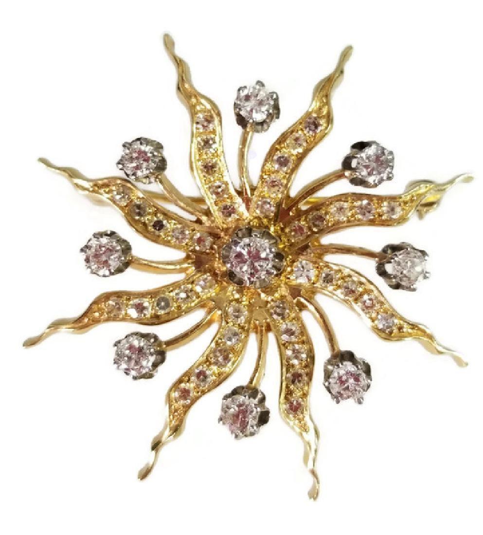 K GOLD AND DIAMOND STARBURST PENDANT BROOCH