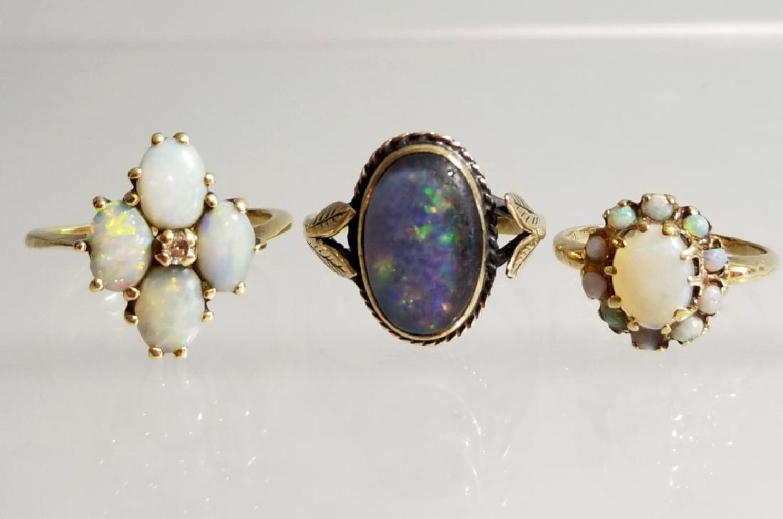 3 ANTIQUE OPAL AND GOLD & DIAMOND RINGS