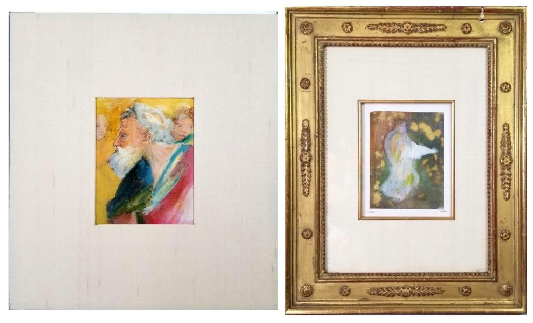 2 SIGNED MIXED MEDIA ALLEGORICAL PAINTINGS