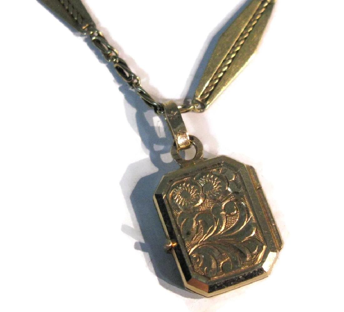 14K GOLD EUROPEAN NECKLACE AND LOCKET