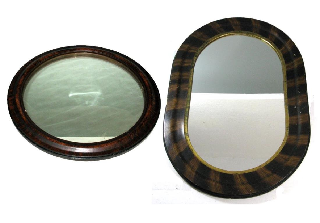 2 AMERICAN PAINTED WOOD & CONVEX GLASS MIRRORS