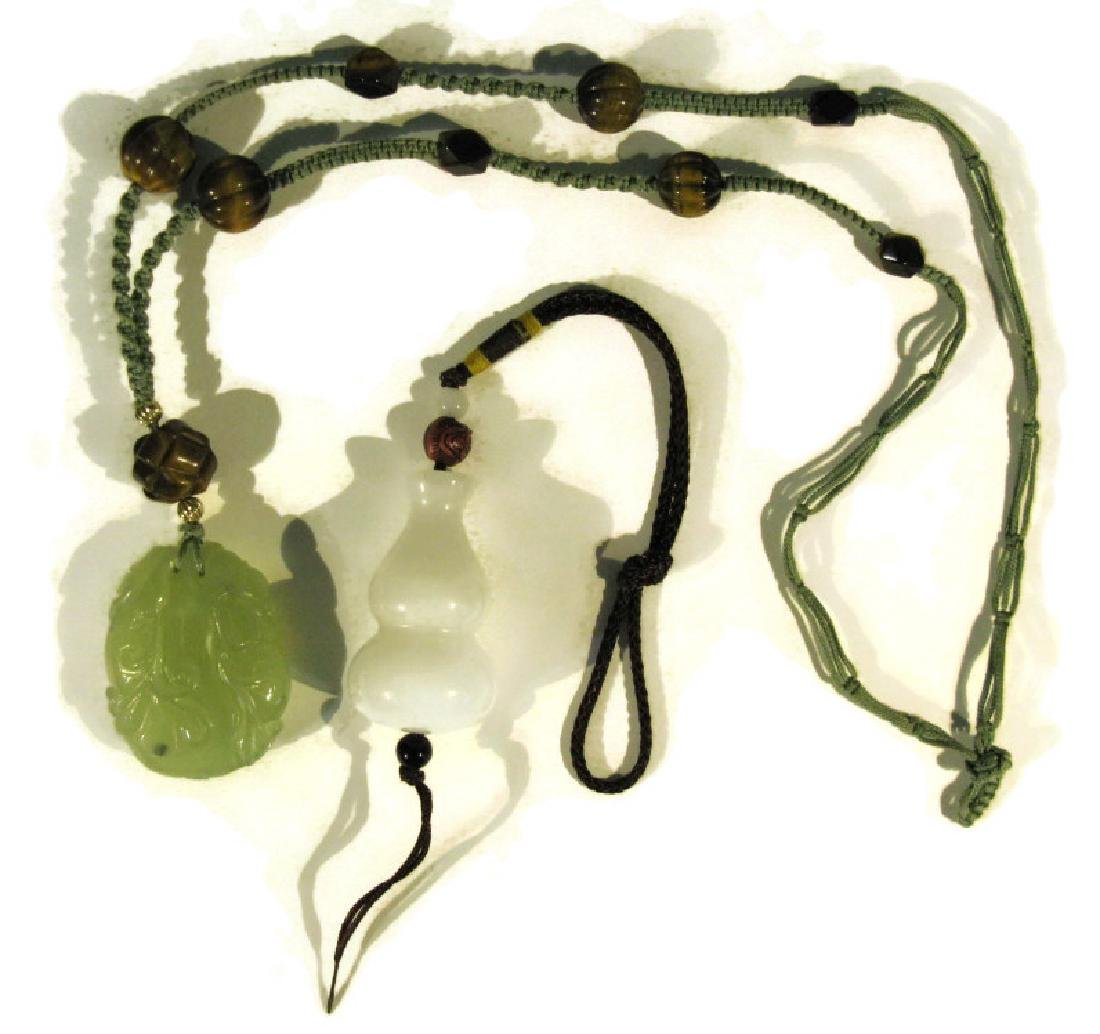 2 CHINESE NECKLACES JADE PENDANTS & TIGER'S EYE